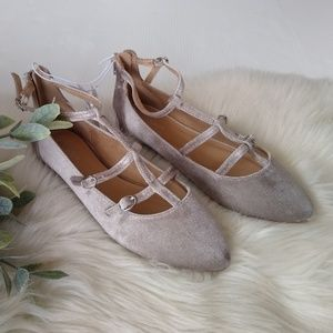 Old Navy • silver velvet caged flats